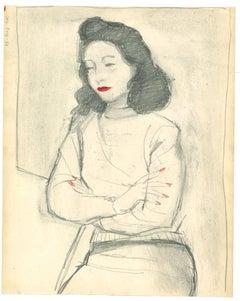 Woman  - Original Pencil and Watercolor by Nicola Simbari - 1960s