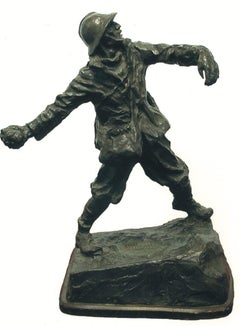 Ardito  - Original Bronze Sculpture by Michelangelo Monti - 1908
