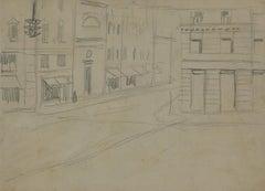 The Street - Original Pencil Drawing by Gabriele Galantara - 1905
