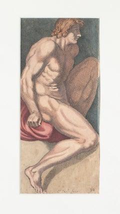 Figure - Original Etching by Carlo Cesi - Late 17th century
