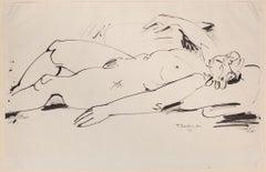 Nude - Original China Ink Drawing by Tibor Gertler - 1948
