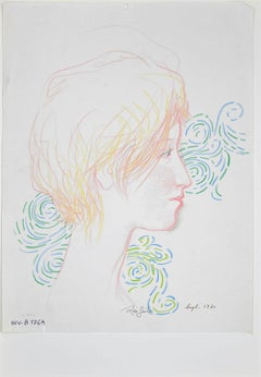 Female Portrait - Original Pencil and Ink by Leo Guida - 1970