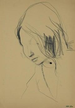 Female Portrait - Original Charcoal Drawing by Leo Guida - 1970s