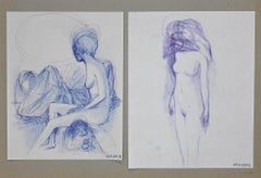 Double Nude - Original Ink Drawings by Leo Guida - 1970s