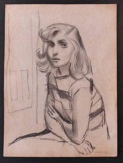 Woman - Original Pencil Drawing by Nicola Simbari - 1960s