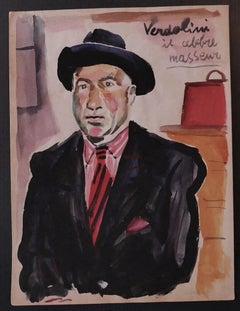 Verdolini il Celebre Masseur - Original Watercolor by Nicola Simbari - 1960s