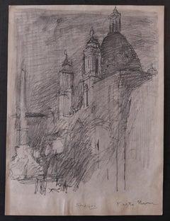 Piazza Navona - Original Pencil Drawing by Nicola Simbari - 1960s