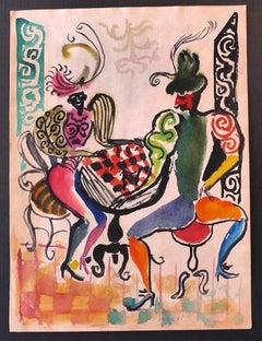 Dancers - Original Drawing by Nicola Simbari - 1960s