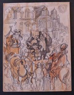 Charlatan - Original Pencil and Watercolor Drawing by Nicola Simbari - 1960s