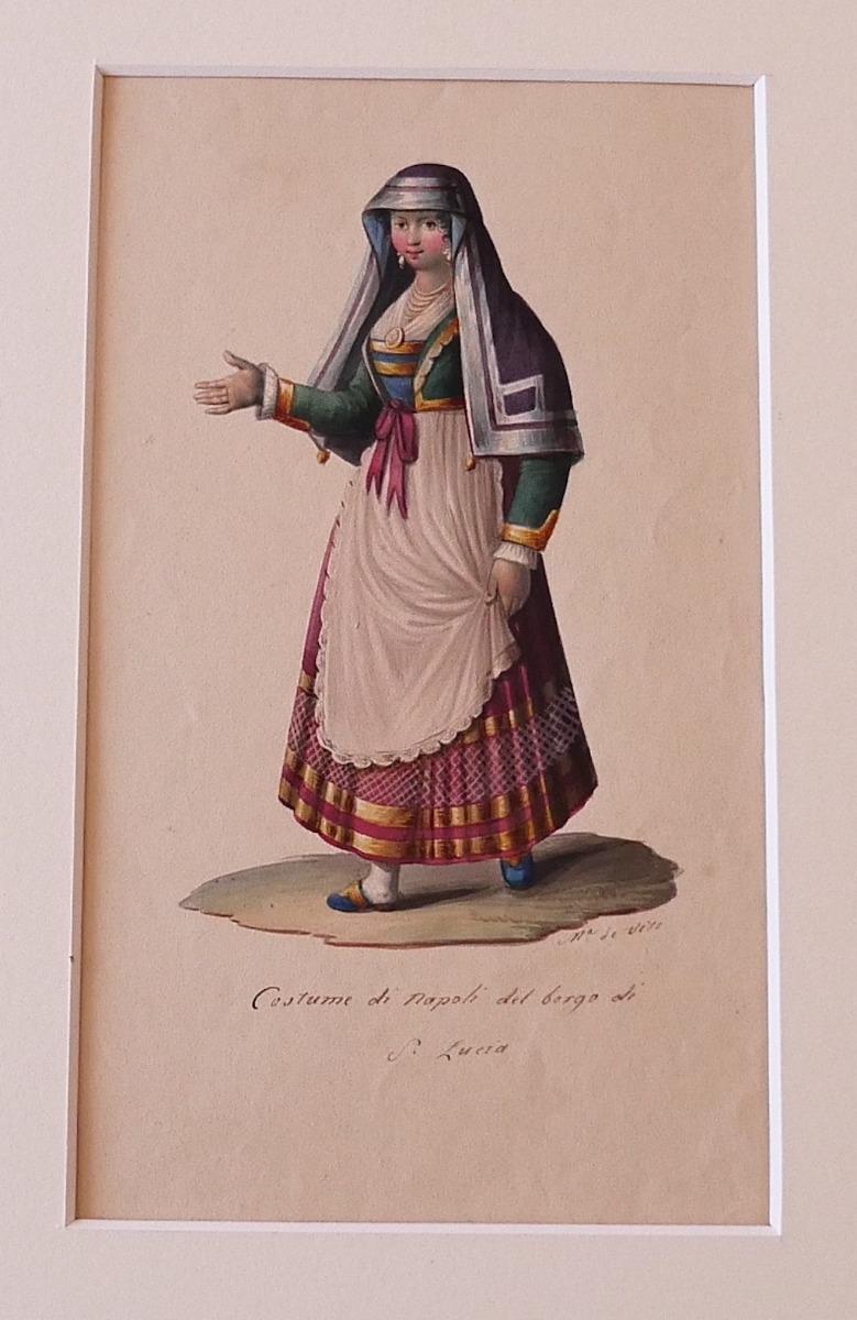 Costume of Napoli - Original Ink and Watercolor by Michela De Vito - 1830s