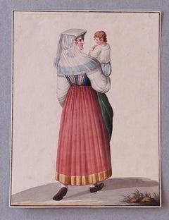 Costume of Ischia - Original Ink and Watercolor by Michela De Vito - 1830s