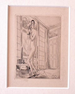Woman on The Phone - Original Etching by Emile Laboureur - 1928