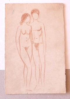Nude Figures - Original Drawing in Sanguine - Mid-20th century