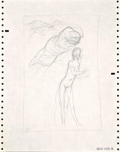 Figure Sketch - Original Pencil Drawing by Leo Guida - 1970s