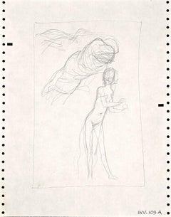 Figure Sketch - Original Pencil Drawing by Leo Guida - 1970s