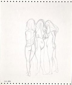 Three Nude Figures - Original Pencil Drawing by Leo Guida - 1970s