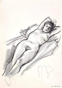 Female Nude - Original Charcoal Drawing - 1970s