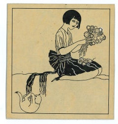 Girl With Flowers - Original China ink Drawing by Bruno Angoletta - 1915