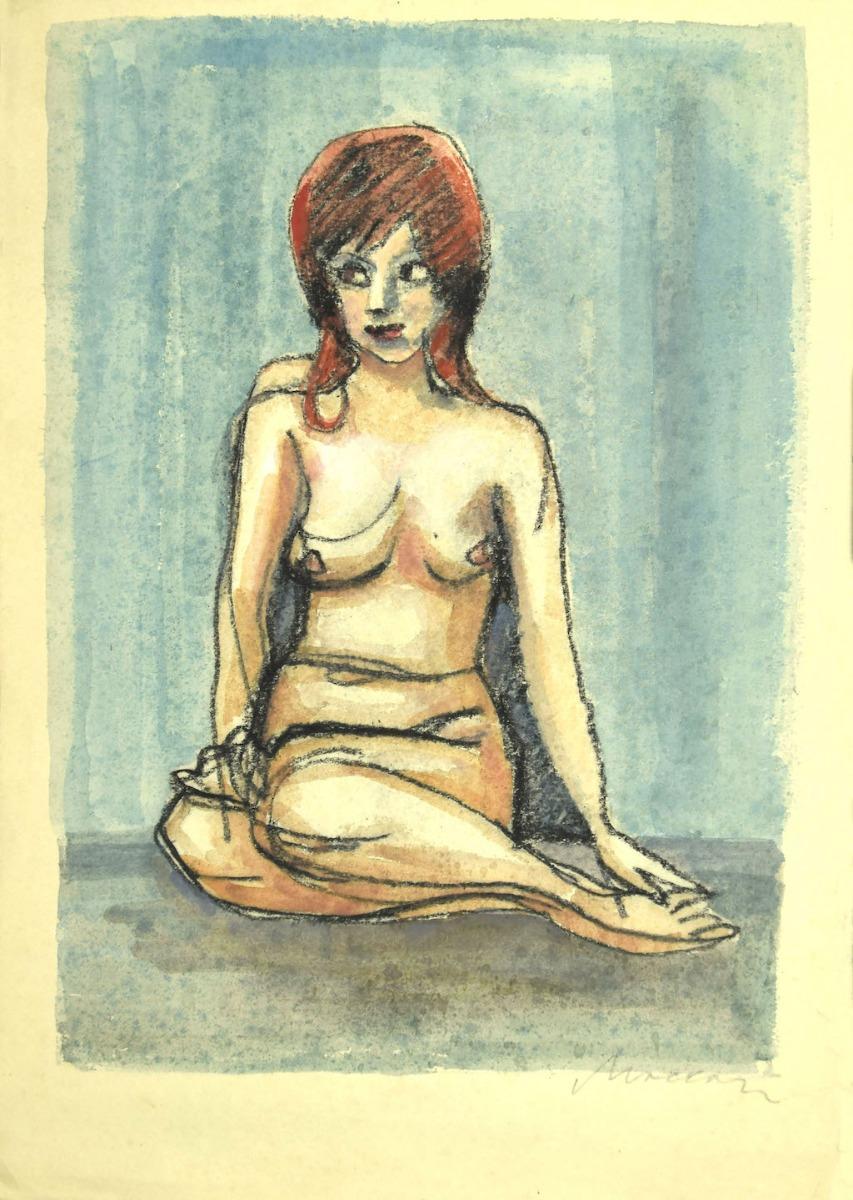 Nude - Original Pastel and Watercolor Drawing by Mino Maccari - 1980