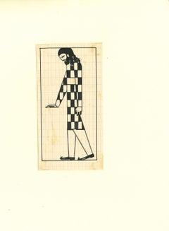 Figure 1920 - Original China ink Drawing by Bruno Angoletta - 1920