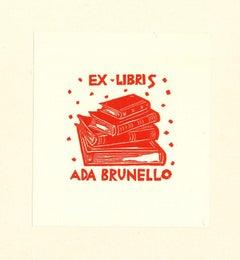 Ex Libris Ada Brunello - Original Woodcut - Early 20th Century