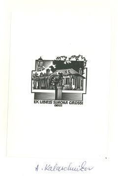 Ex Libris Simona Grossi - Original Woodcut - Early 20th Century