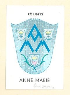 Ex Libris Anne-Marie - Original Woodcut - Early 20th Century