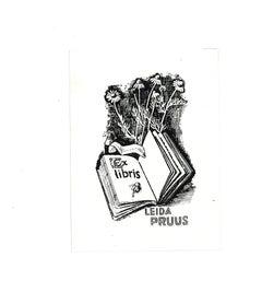 Ex Libris Leida Pruus - Original Woodcut - Early 20th Century