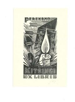 Ex Libris Kitsingi - Original Woodcut - Early 20th Century