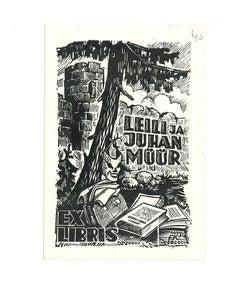 Ex Libris Leili Ja Juhan Muur - Original Woodcut - Early 20th Century