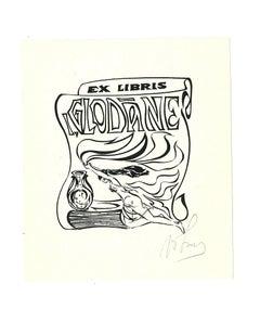 Ex Libris Glodane - Original Woodcut - Early 20th Century