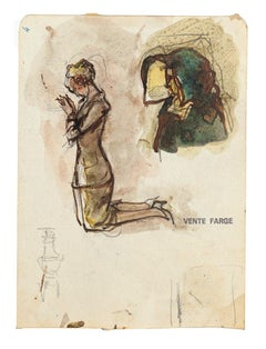 Figure Studies - Original Pencil and Watercolor - 20th Century