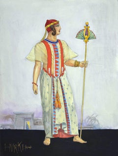 Hurki Costume for an opera - Pencil and watercolor drawing by Taho - 1930s