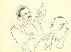 Drinkers in Bar - Original China Ink Drawing by A. R. Hallman - 1956 ca.