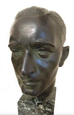 The Architect Giuseppe Martinenghi - Bronze Sculpture by E. Pellini - 1920 ca