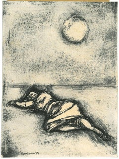 The Woman under a Full Moon - Original China ink Drawing by R.Vespignani - 1953