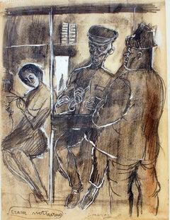 Night Tram - Original Pencil and Charcoal by Nicola Simbari - Mid-20th Century