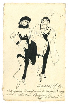 Fashionable Women - Original Ink Drawing - Early 20th Century