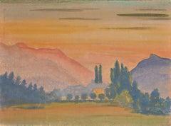 Sunset in Mountain - Original Watercolor by Jean-Raymond Delpech - 1943