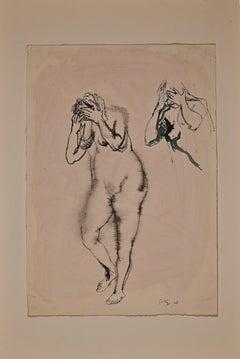 Desperate Nude - Original China Ink by Renato Guttuso - 1942