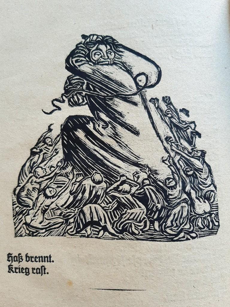 Der Kopf is an original Rare Book llustrated by the Expressionist German artist Ernst Barlach  (1870- 1938) and written by Reinhold von Walter (St. Petersburg, 1882 - Ravensburg, 1965) in 1919.  Original First Edition.   Format: in 4°.  Published by