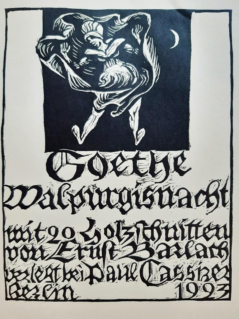 Walpurgisnacht is an original Rare Book engraved by the Expressionist German artist Ernst Barlach  (1870- 1938) and taken by the first part of the Faust by Wolfgang Goethe  (Frankfurt, 1749 – Weimar, 1832)  in 1923.  Original First Edition.