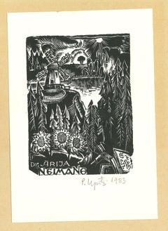 Ex Libris Arija Neimane - Original Woodcut - 1983