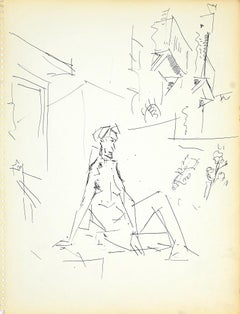 Female Nudity - Original Ink Drawing by Herta Hausmann - 1950s