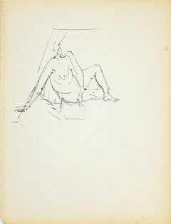 Female Figure - Original Pencil Drawing by Herta Hausmann - 1950s