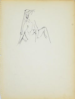 Female Figure 2 - Original Pencil Drawing by Herta Hausmann - 1950