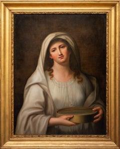 Vestale Tuccia - Original Oil Painting by Luigi Cochetti - 1844