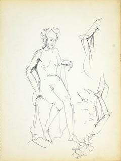 Female Nudity 1 - Original Black Marker Pen on Paper by Herta Hausmann - 1950s