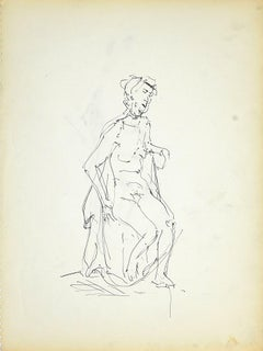 Female Nudity 2 - Original Black Marker Pen on Paper by Herta Hausmann - 1950s