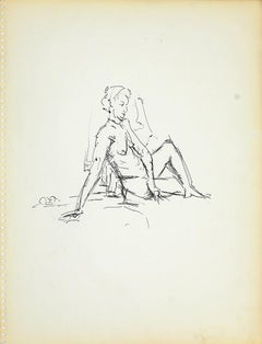 Female Figure 3 - Original Black Marker Pen on Paper by Herta Hausmann - 1950s